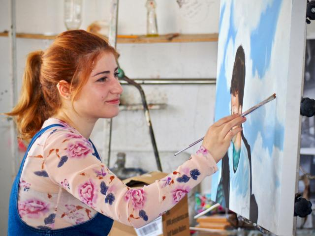 CCS Art student Maya Zohbi in her studio. Credit: Will Proctor